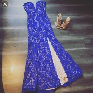 PROM DRESS Blue Lace Gown